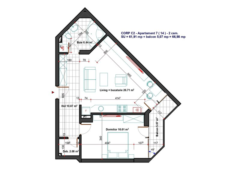 Ambiance Residence Pipera, 2 camere, tip G C2